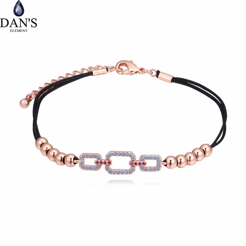 DANS AAA Zirconia Micro Inlays Fashion Bracelets & bangles for women thin red thread string rope Charm Horse 130565