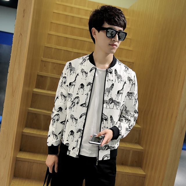 2017 Spring Casual Faxu Leather Jacket Men Korean Slim Fit Zebra Print PU Bomber Jacket Fashion Stand Collar Man Coat 4XL-M Hot