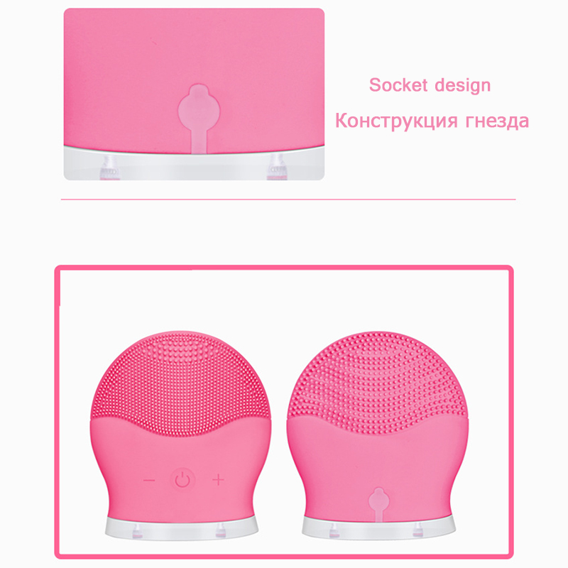 Electric silicone cleansing instrument massage wash brush facial pore cleaner face cleaning ultrasonic face cleansing brush ultrasonic wave electric cleansing instrument waterproof rechargeable face care brush facial cleaner beauty device massage skin