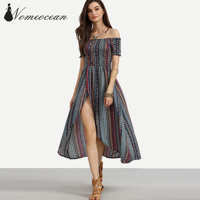 0f902657edf Multicolor Tribal Print Shirred Off The Shoulder Dress Low-high Sweep High  Slit Maxi Dress 2017 Summer Elastic Band M17041722