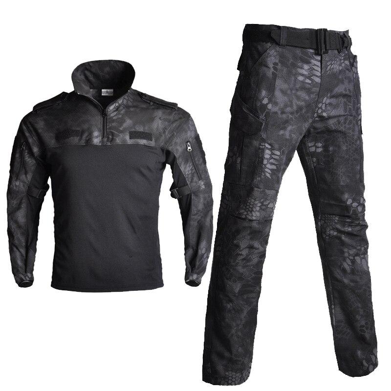 Set di Cotone Uniforme Militare degli uomini Della Camicia Degli Uomini di Pantaloni Militari Airsoft Paintball Tactical Camicette Vestito Camo Vestiti di Formazione degli uomini di pant - 5