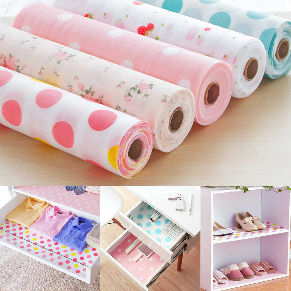 30*500CM Kitchen Drawer Paper Polka Dot Floral Strawberry Print Waterproof Non-Adhesive Wardrobe DIY Cabinet Dining Pads Mats