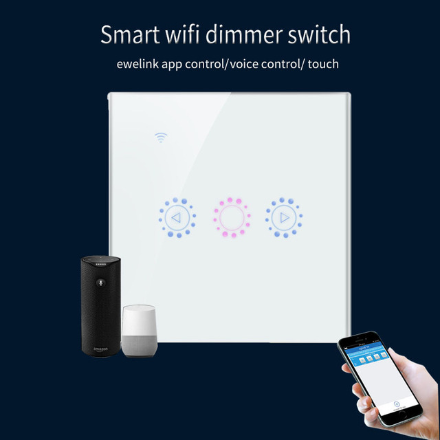 US $19 19 36% OFF|Ewelink EU Standard WiFi Touch Dimmer Switch Smartphone  APP Remote Control work with Alexa and Google home-in Switches from Lights  &