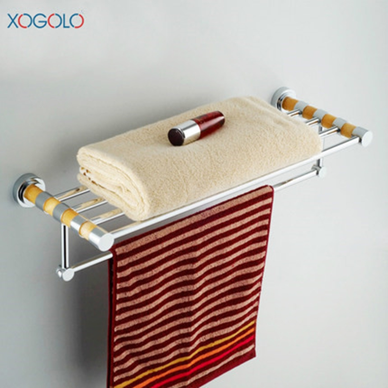 Xogolo Bathroom Towel Holder Double Layer Bars Towel Hanger Brief Style Jade Wall Mounted Bath Towel Rack Accessories batroom golden crystal double cup holder bathroom double cup rack holder hardware bath sets bathroom accessories