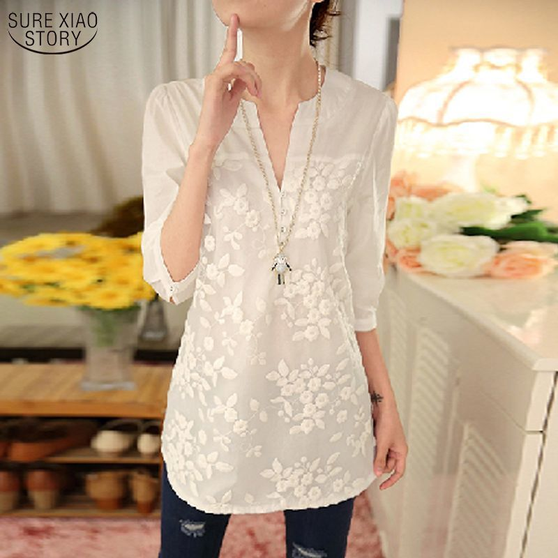 2019 New Summer Korean Women Blouse Flower Print Blouse V-neck Organza Embroidered Shirt White Lace Blouse Top Plus Size 566F 25