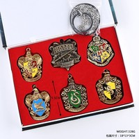 Harry Potter Magical School Badges Toy 6pcs Expecto Patronum Gryffindor Brooches Keychain Necklace Pendant Box Packing