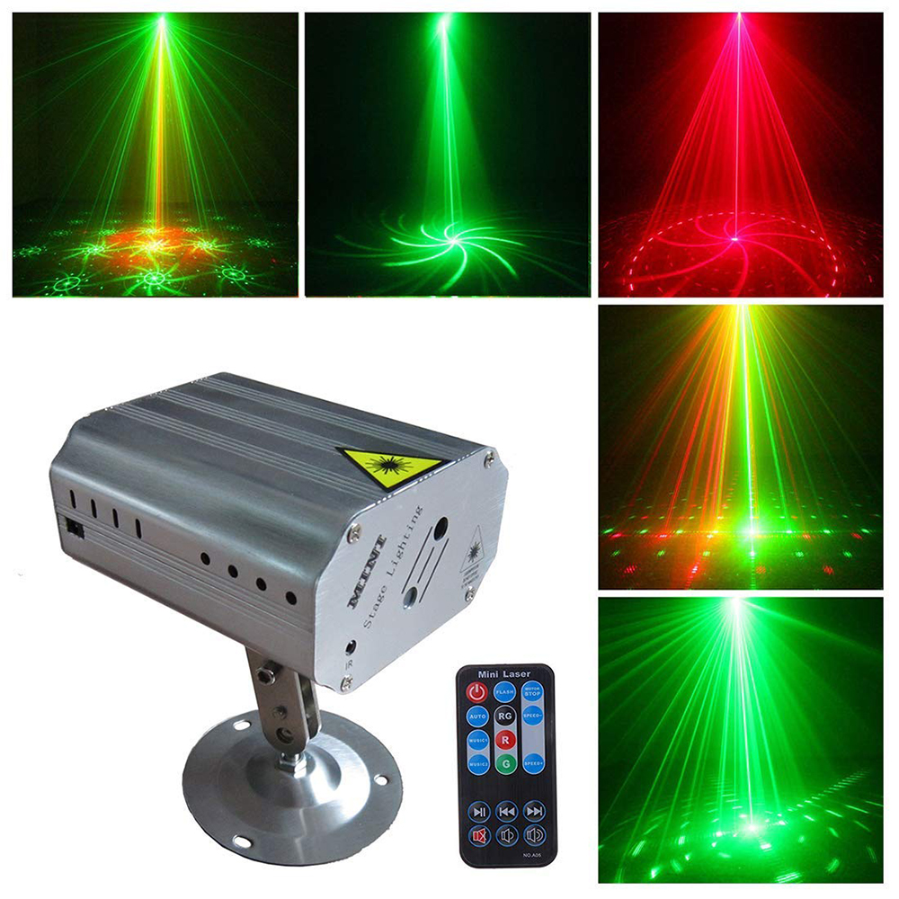Led Laser Light Multi Pattern Stage Lights With Controller Red And Green Flashing Effect For Disco Dj Party Projector Light