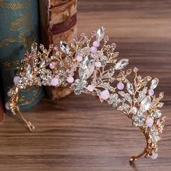 KMVEXO New Gold Color Handmade Pink Beaded Crown Luxury Crystal Rhinestone Tiaras Wedding Hair Accessories Bridal Party Jewelry