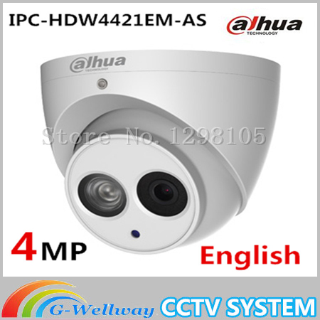Original english Dahua IPC-HDW4421EM-AS 4MP POE Built-in Mic WDR Network Small IR Dome Camera Dahua 4MP IP Camera HDW4421EM-AS original dahua 4mp ipc hdbw4421r as ip network camera support poe