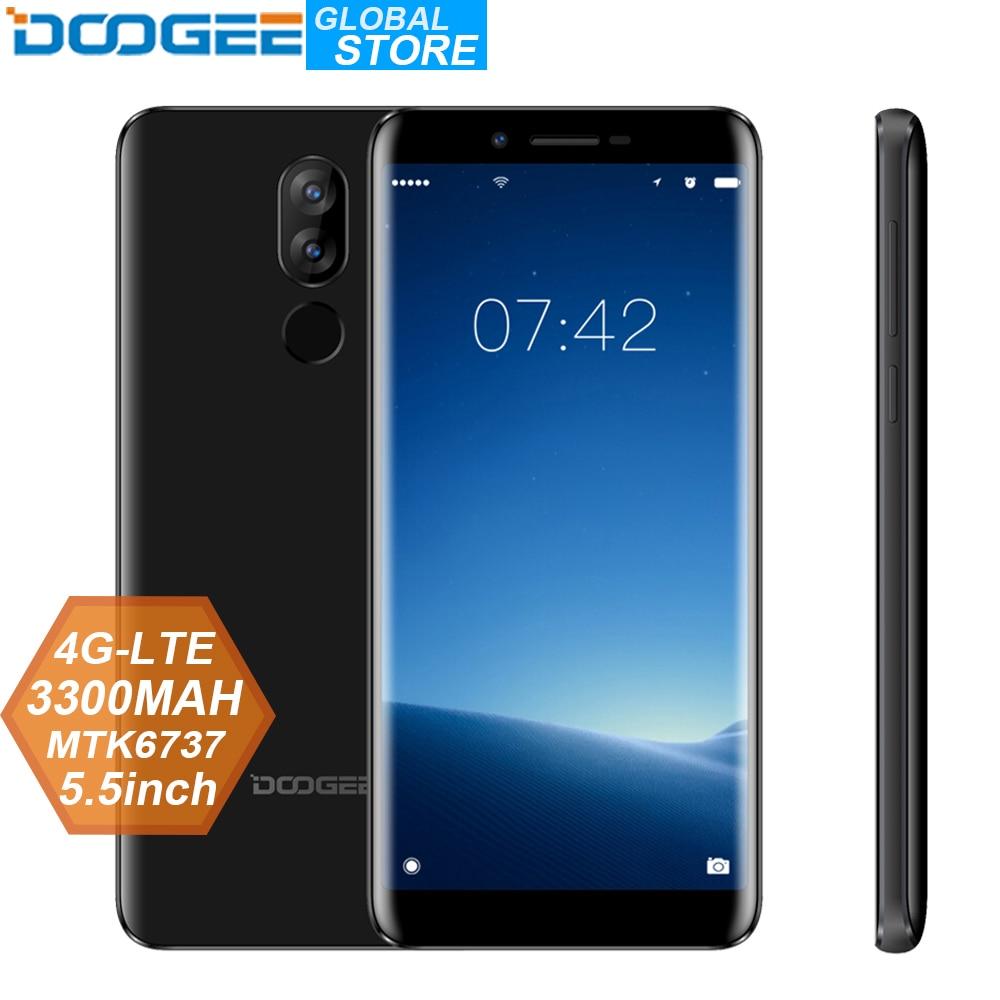 Original doogee x60l 5.5 mtmtmtk6737 quad core 2 gb ram 16 gb rom 4g câmera dupla 13.0mp android 7.0 3300 mah impressão digital smartphone