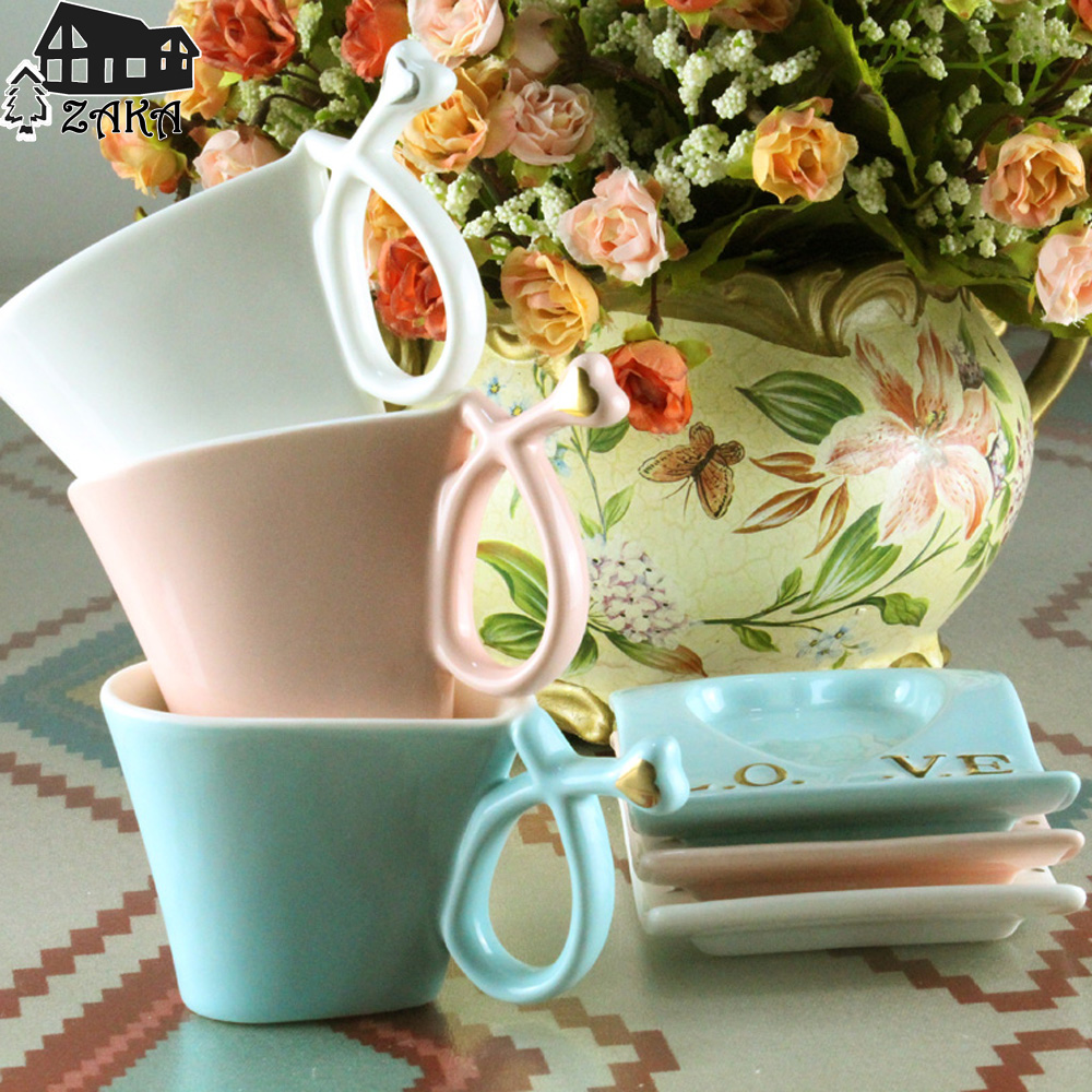 New arrival White Pink Blue Heart shaped ceramic coffee ...