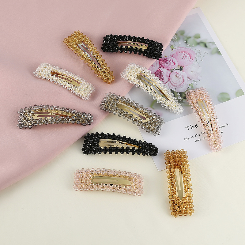Fashion Woman Transparent Crystal Hairpins Elegant Simple Retro Clips For Girls Barrettes Hair Accessories