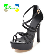 S.Romance Women Sandals Size 34-43 Supper High Thin Heels Patent PU Narrow Band Platform Women's New Fashion Summer Shoes SS052(China)