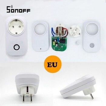 Sonoff S20 ЕС Тип E телефон Wifi беспроводной пульт дистанционного управления Умный дом Зарядка адаптер розетка работает с Alexa дома