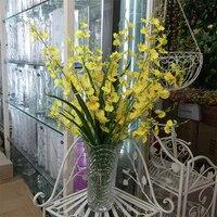 Ipek Yapay Orkide Çiçek Dekorasyon Ekran Için plastik Şerit Ponpon Flores Scrapbooking Düğün Dekor Çiçekler QQC303