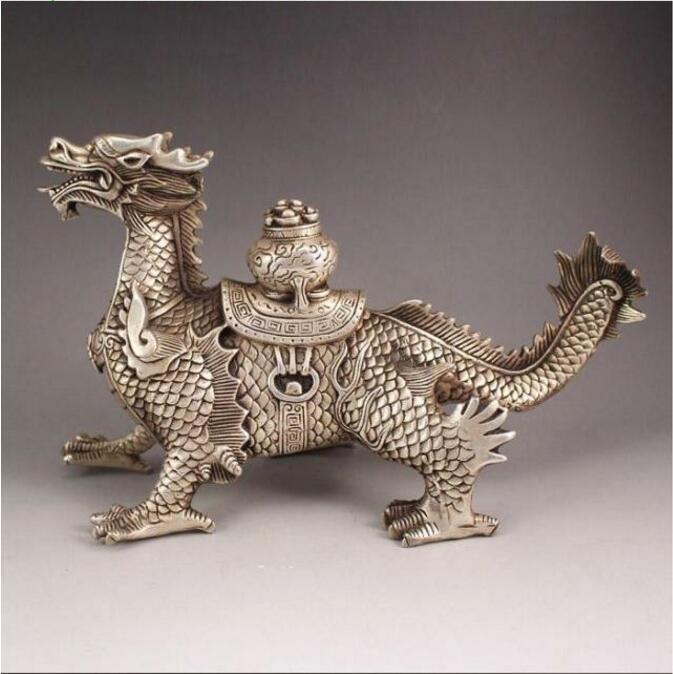 Tibet silver handmade auspicious dragon town curtilage statueTibet silver handmade auspicious dragon town curtilage statue