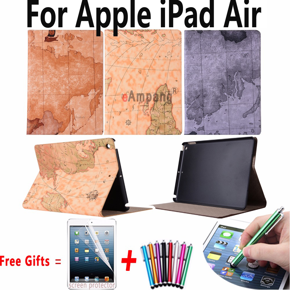 For Apple iPad Air Cases PU Leather Slim Smart Cover for iPad Air 1 Case Tablet Accessories Case Retro Map Stand Case for iPad 5 case cover for goclever quantum 1010 lite 10 1 inch universal pu leather for new ipad 9 7 2017 cases center film pen kf492a