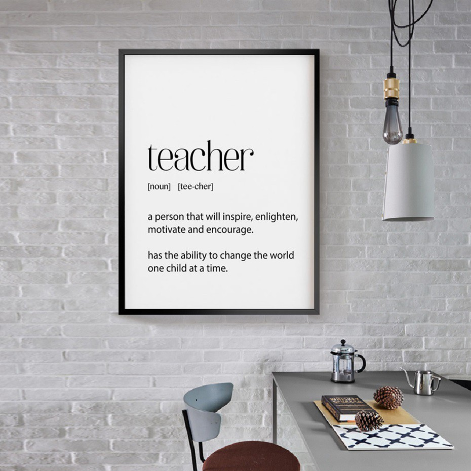 Teacher Gifts Definition Appreciation Quotes Poster Prints Wall Art Canvas Painting Pictures School Office Home Decor image