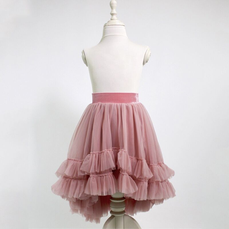 Girls Hi-lo tutu skirts Kids girl Mauve Tulle Skirt Wedding Bridal Bridesmaid Skirt Knee Length Skirt with Ruffles 1-10 YS girls stereo flowers tee with skirt