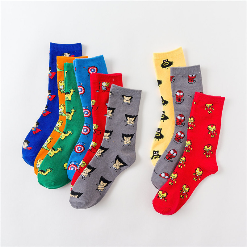 2019 New Women Fashion Street Sock Comics Hero General Socks Cartoon Socks Iron man Knee High Warm Stitching pattern Casual Sock in Socks from Underwear Sleepwears
