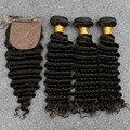 8A Grade Unpressed Preuvian 3 Bundles Deep Wave With Silk Base Closure Slove Rosa Products Virgin Hair Free Shipping Peruvian