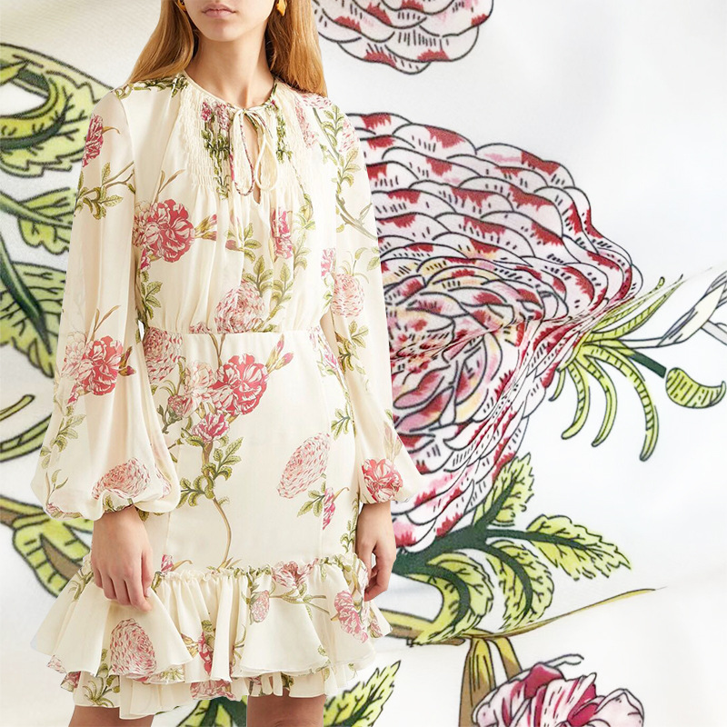 2019 new large flowers digital printing fabric spring and summer hot clothing handmade DIY fashion dress
