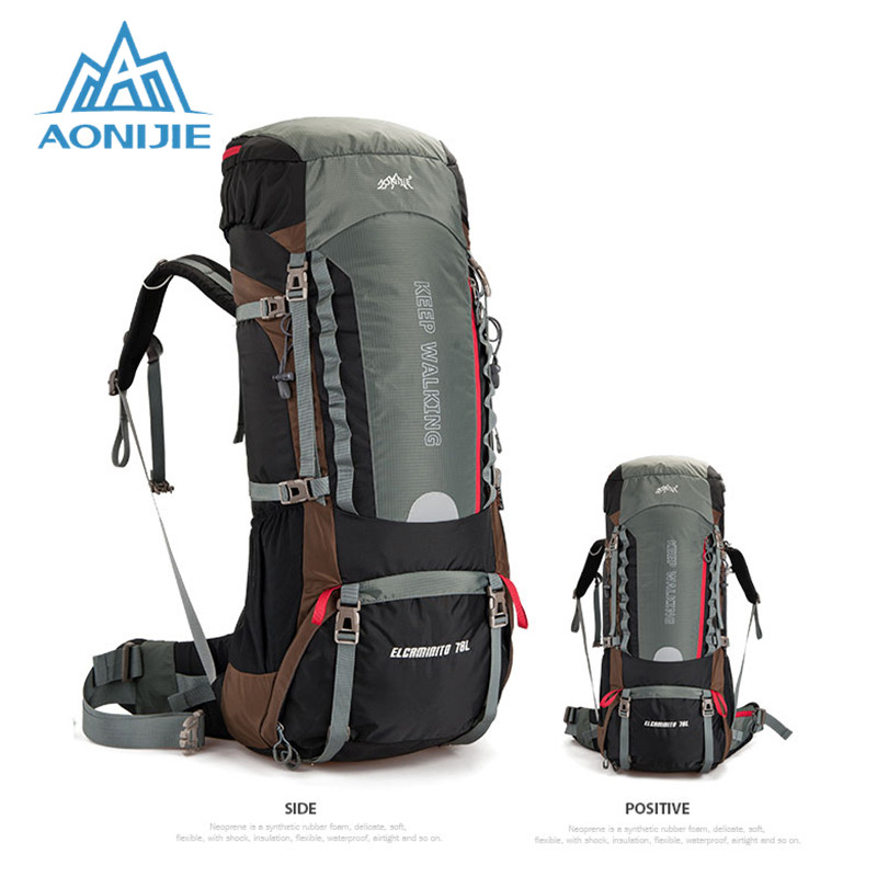 AONIJIE Outdoor Waterproof Nylon Travel Sport Mountaineering Bag Hiking Backpack Climbing Bags for Men Women 60L 70L