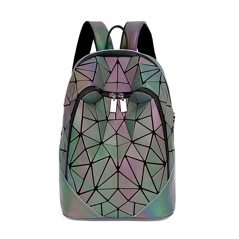 New Women Luminous Backpacks For Girls Daily Backpack School Female Geometry Folding Bao School Bag Travel Bagpack Mochila 2019