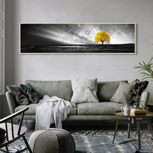 Nordic Poster Black and White Wall Art Canvas Yellow Bridge Stone Tree Painting Modern Minimalist Wall Pictures for Living Room(China)