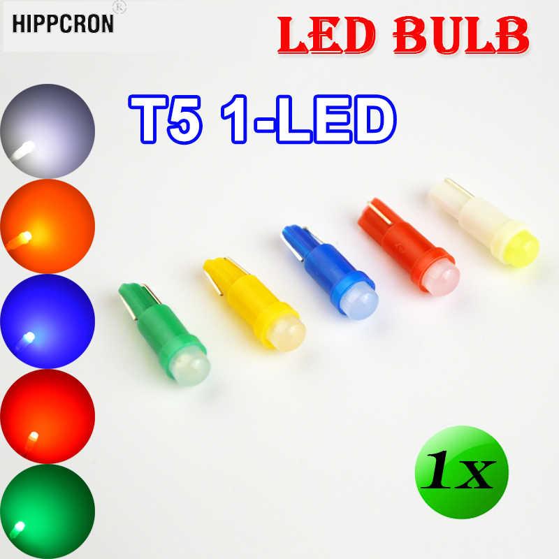 Hippcron 1 × T5 1 SMD LED 電球セラミックダッシュボードゲージ楽器オートライトカーランプ DC12V 白、緑、黄色青、赤の色