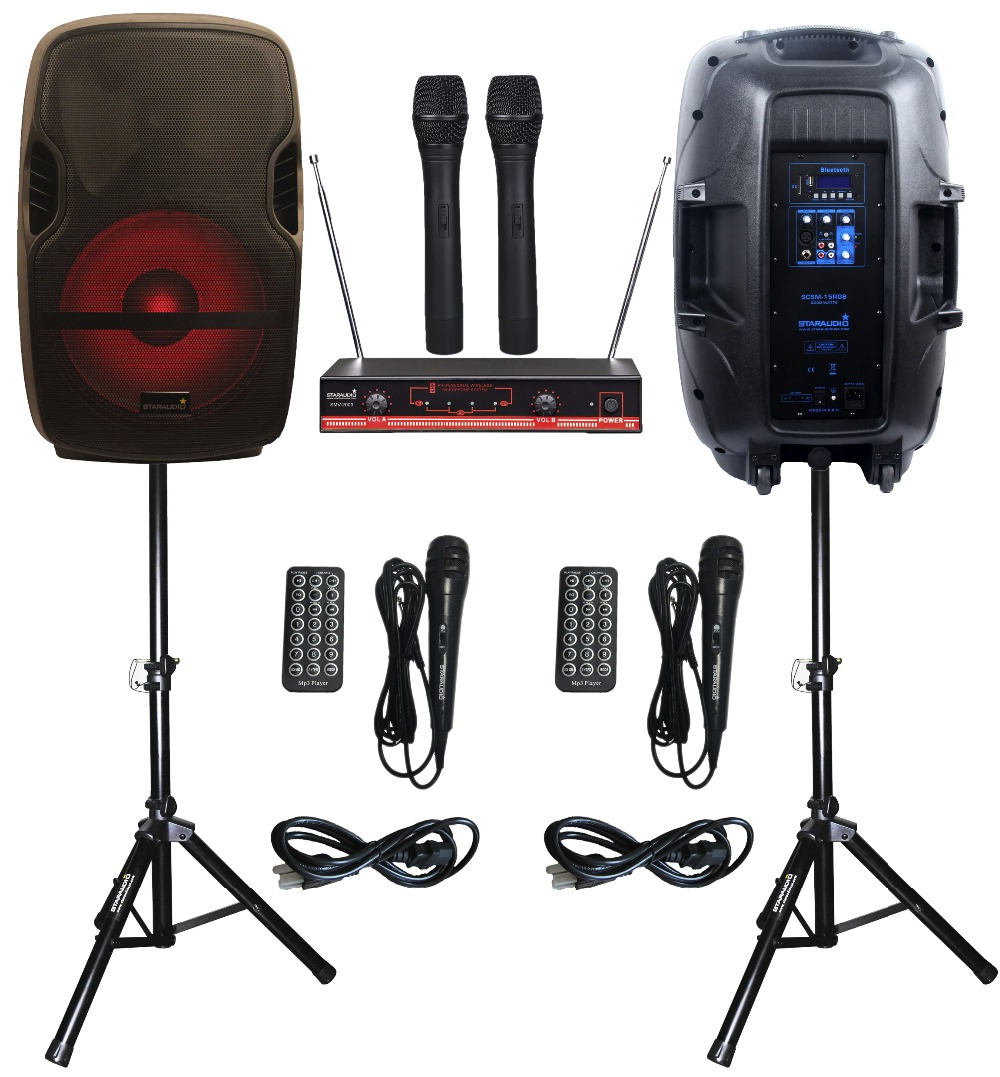 STARAUDIO SCSM-15RGB Pair 15 2000W PA KTV DJ Stage Karaoke Powered Active BT SD USB Speakers W/ LED Light Stand 2CH VHF Mic