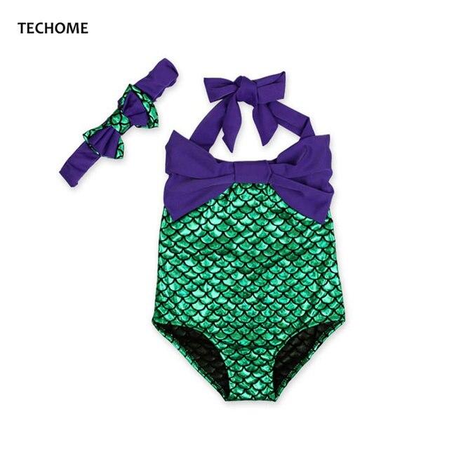 Ein stück mädchen bademode bogen stirnband meerjungfrau form badeanzug für  baby kinder sommer schwimmen sport kleidung 087c30fec6