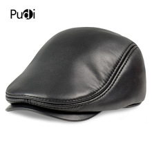 HL191 Mens real  Leather baseball Cap brand new sheep leather beret newsboy hunting gatsby caps hats with fur inside