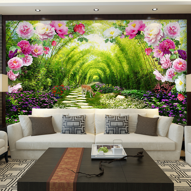 Custom Wall Murals Non Woven Printing Wall Paper Painting Bright Peony  Florals Living Room Bedroom Decor Wallpaper For Walls 3d  In Wallpapers  From Home ... Part 33