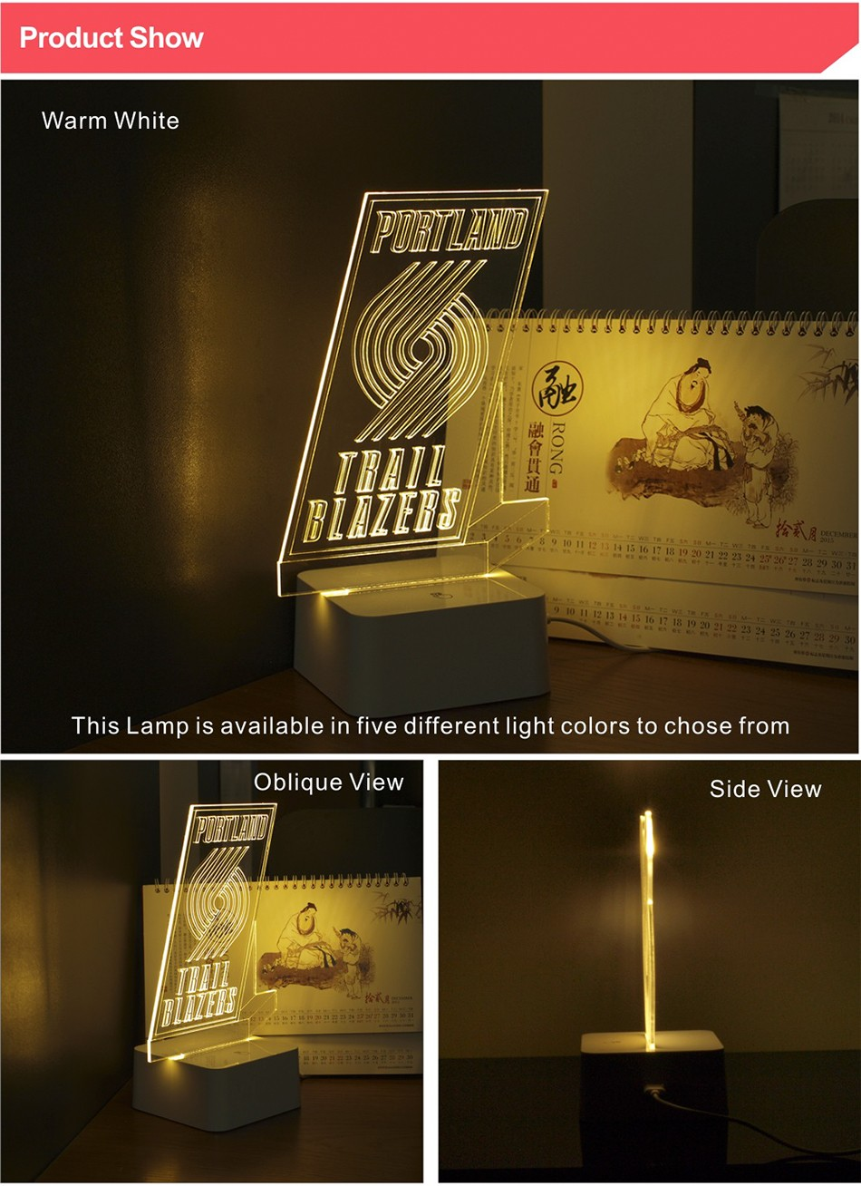3D Lamp USB Novelty for Portland NBA Basketball Fans LED Night Light as Creative Gifts or Home Decor (2)