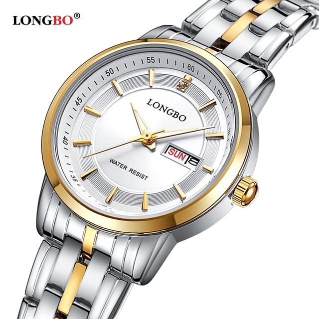 Amantes longbo reloj de cuarzo calendario hombres mujeres relojes 2017 del reloj superior de la marca de lujo de reloj de cuarzo relogio masculino feminino