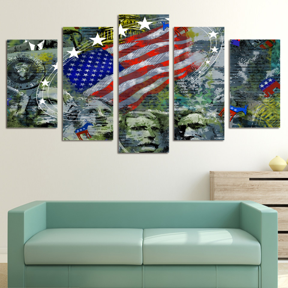 5 Piece Canvas Art Usa Flag Mount Rushmore Printed Wall Art Home Decor Painting Picture Poster