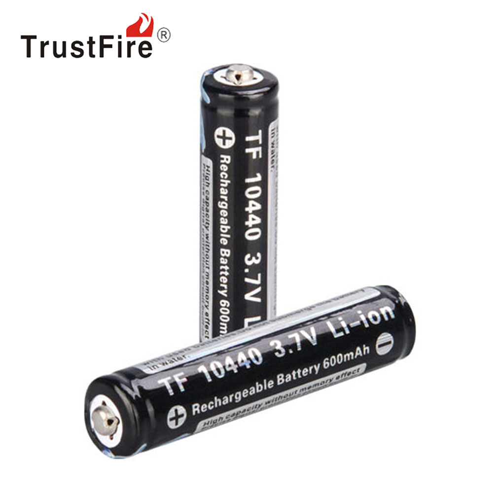 2pcs/lot TrustFire 3.7V Li-ion 10440 Rechargeable Battery 600mAh Real Capacity Lithium Battery with Protected PCB for Flashlight image