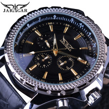 цены Jaragar Men Automatic Watches Casual Black 3 Dial Date Sport Genuine Leather Self Wind Mechanical Wrist Watch Relogio Masculino
