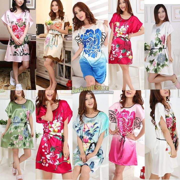 Short Sleeve Floral Sexy Plus Size Women Silk Robe...
