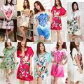 Manga curta Floral Sexy Plus Size mulheres Silk Robe Lady meninas pijamas de seda roupão Nightgowns Loungewear Sleepwear