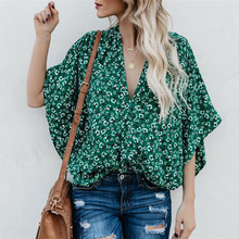Women bat sleeve chiffon shirt Flower Print short sleeve V-neck Loose Blouse Ladies Summer Tops Casual Shirts fashionable women s bat sleeve ethnic print scoop neck blouse