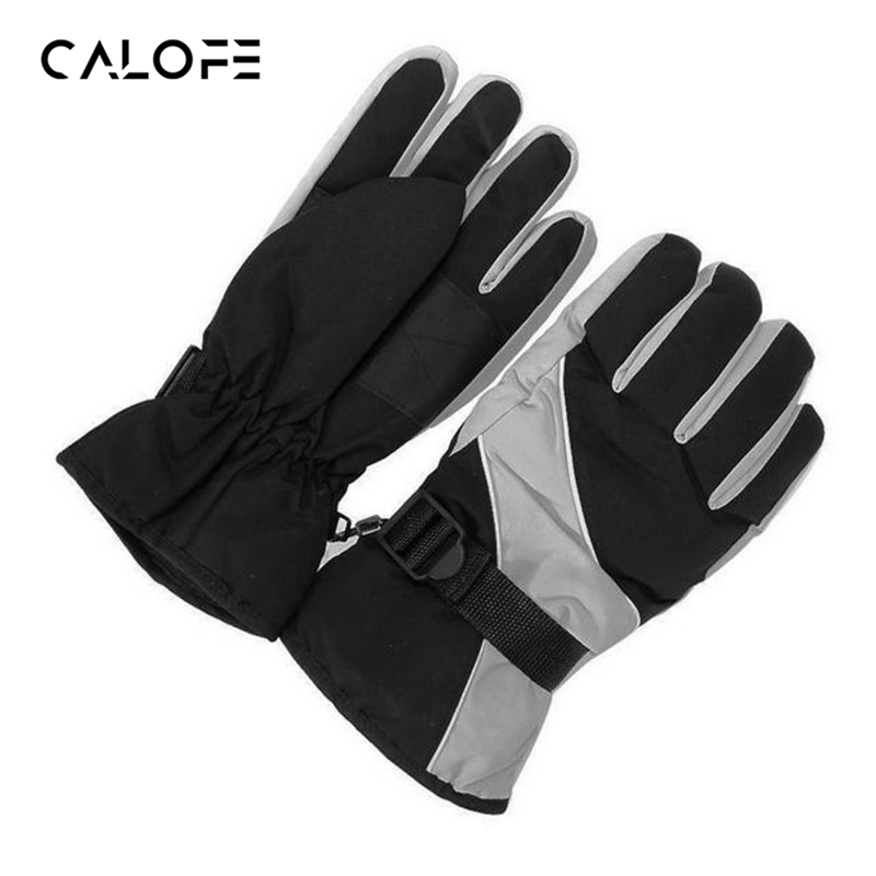 CALOFE Women Winter Gloves Windproof Thermal Warm Glove Fleeced Waterproof Letters Printed Outdoor Sport Skiing Gloves 1Pair