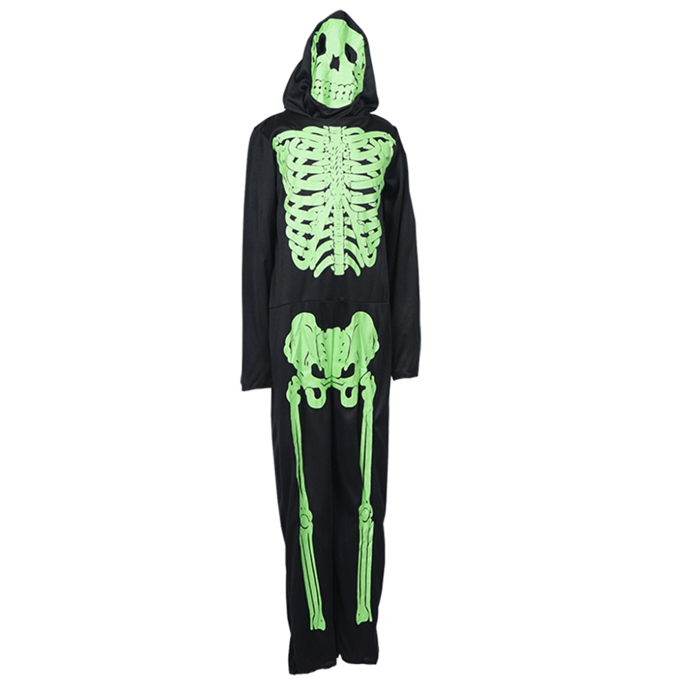 boy skeleton scary bone printed costumes cosplay jumpsuit fancy dress rompers for children kids skull cap - Scary Halloween Costumes For Children