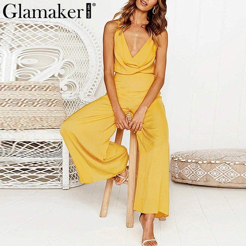 Glamaker Elegant Wide leg deep V neck   jumpsuit   Women Backless holiday beach long playsuit Summer sleeveless sexy romper overalls