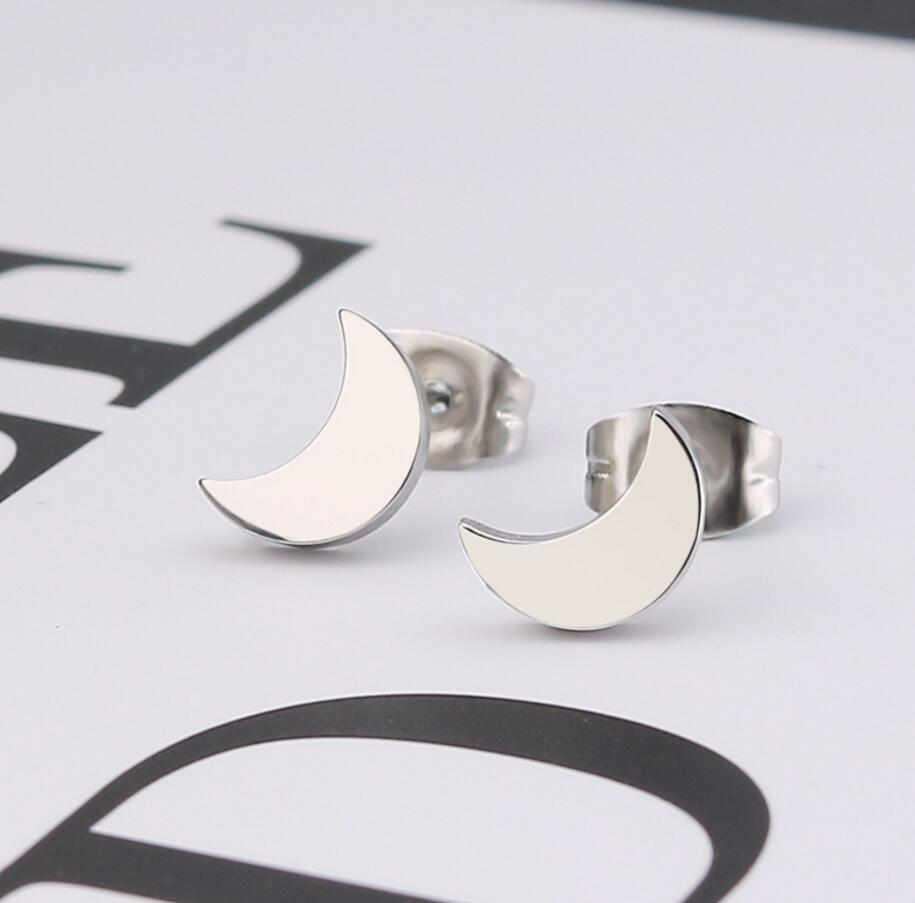SMJEL Women Black Earrings Moon Stainless Steel Crescent Moon Stud Earring  Kpop Jewelry Bts Gifts boucle d'oreille femme 2018-in Stud Earrings from  Jewelry ...