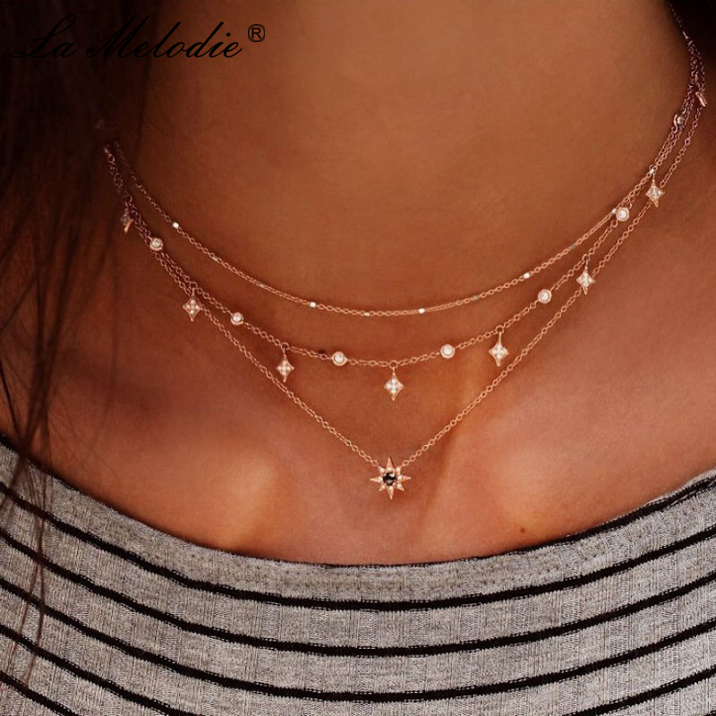 New Boho Multilayer Gold Color Alloy Link Chains Chokers Necklace Stars Crystal Pendants&Necklaces For Women Girl Choker Collar