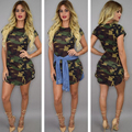 2016 Fashion new Style sexy Women dress Casual Sheath above knee mini regular O-neck hot  Army green dress
