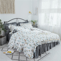 White Lace Princess Wedding Bedding sets High quality Home Textile twin Queen King fashion Duvet cover set Bed skirt Pillowcases