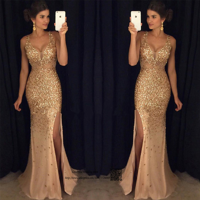3e188f80d9789 US $153.6 20% OFF|Sparky Green Gold Formal Rhinestones Evening Dresses Long  Mermaid Prom Dress Backless Crystal Party Gowns Split Vestido de Festa-in  ...